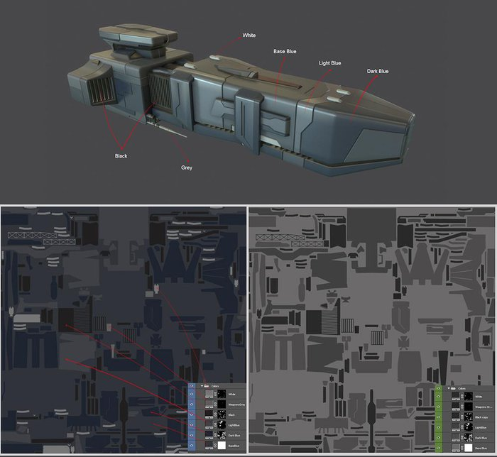 Establish the different colors of the ship and add some variations in the roughness map