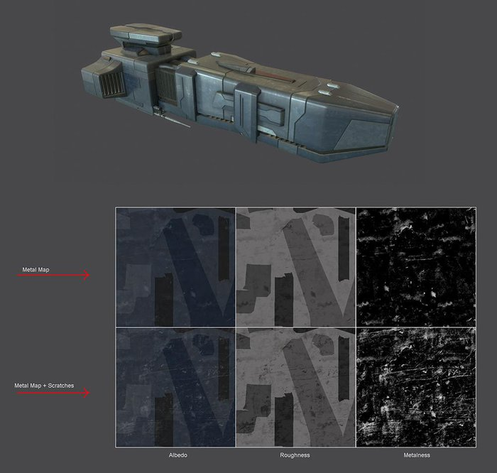 Add metal textures and scratches. Darker in the Roughness map to suggest a smooth material and Lighter in the Metalness map to suggest the metal underneath the paint colors