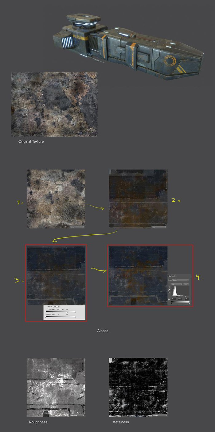 Make different adjustments to a texture to use it as rust