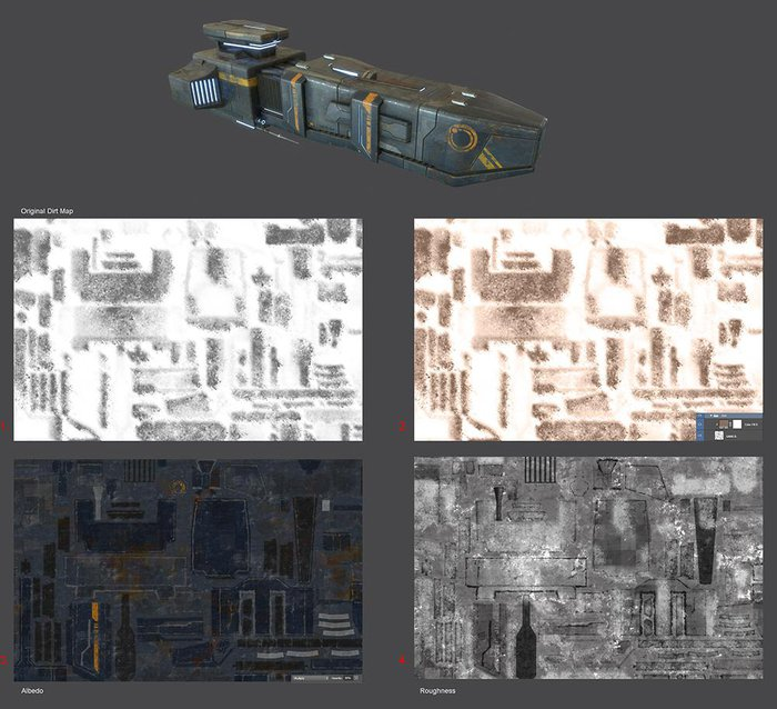 13b. Use the dirt map generated in Substance Designer in Multiply mode for the albedo and inverted in Screen mode for the roughness