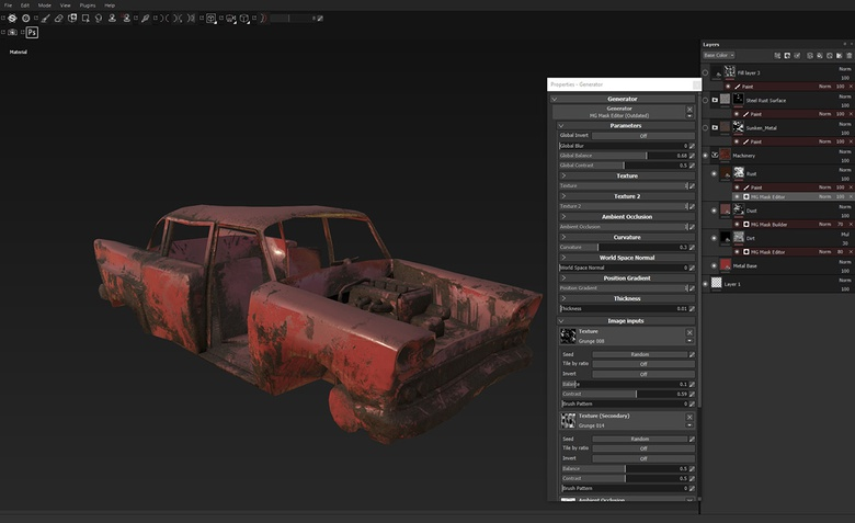Using grunge maps to add rust to the car