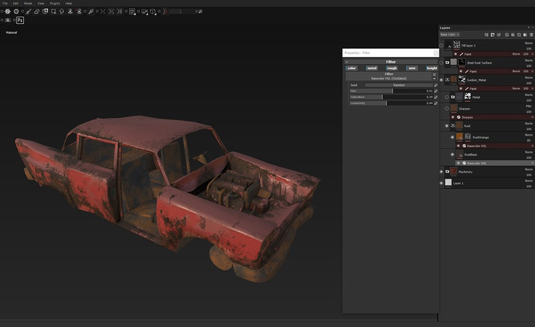 A second variant of rust for other parts of the car