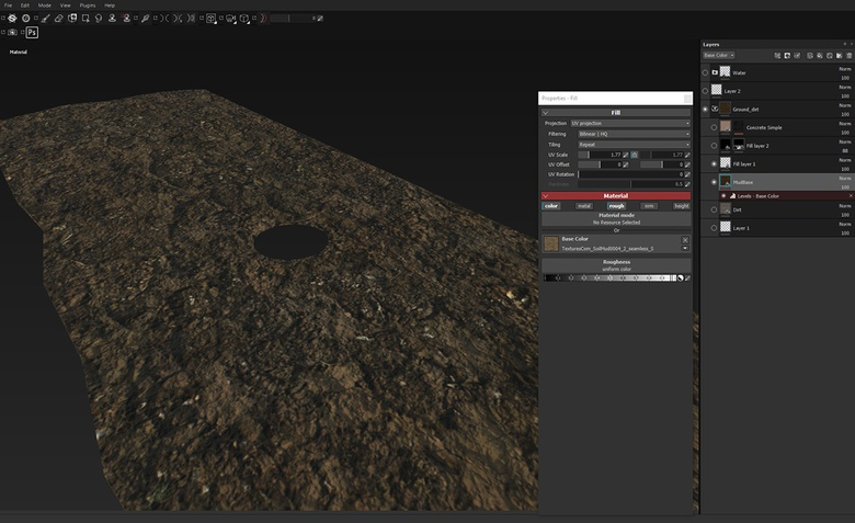 Creating a muddy terrain material using tillable textures
