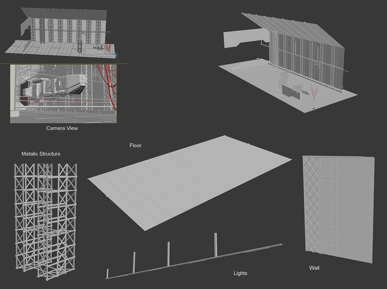 Simple models are made in 3ds Max for all the elements of the hangar