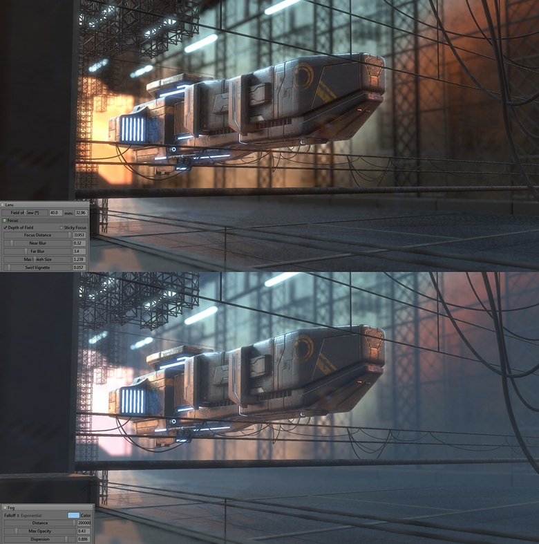 Activate the depth of field in the camera and create some fog to add more atmosphere and realism