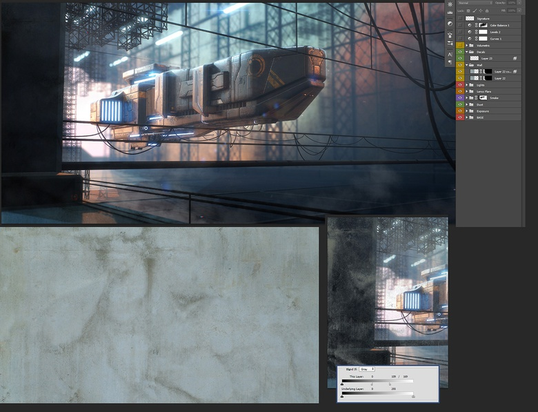 I add a texture to the left wall. Keep the darkest areas by modifying the blending options