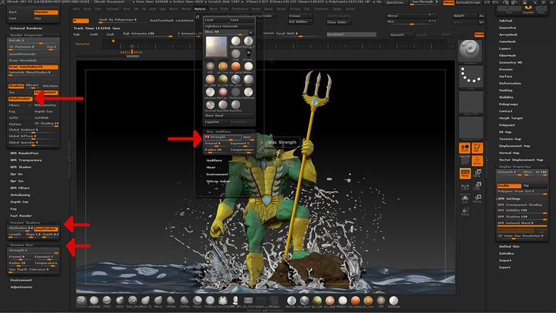Enable the Wax Preview button to have a wax effect in real-time in the canvas while sculpting