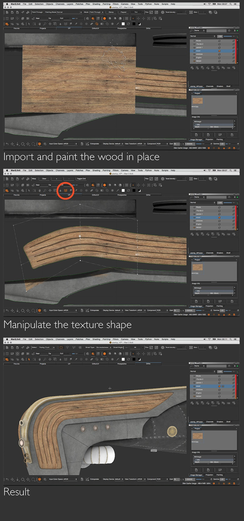 Adding a wood paneling effect to the nose of the ship