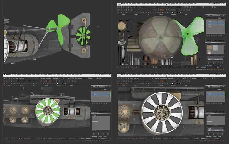 Texturing the propellers and side engine