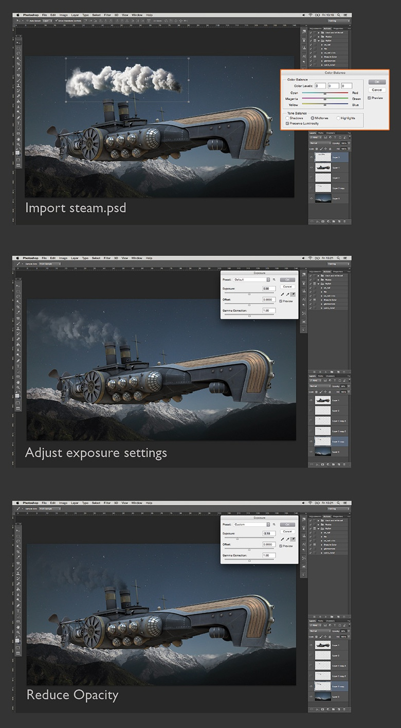 Adding steam effects with Photoshop