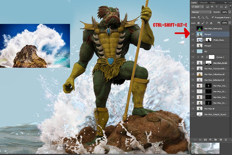 Compositing a photo behind the character to create the crashing wave