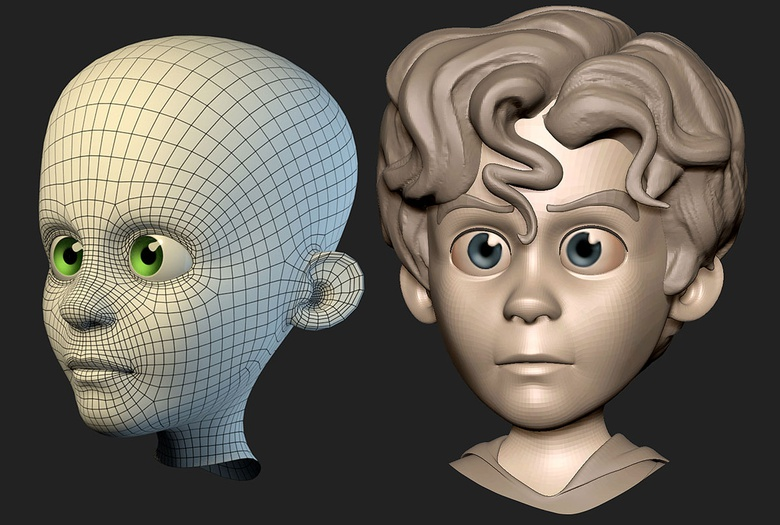 Speed retopo of kid, testing myself how quickly I could achieve something useable. Turned out to be about an hour and half!