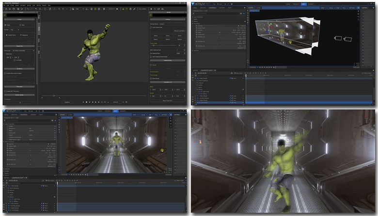 Alembic embeds the character and its animations in the file exported, so it can be managed as a real 3D model in the HitFilm project