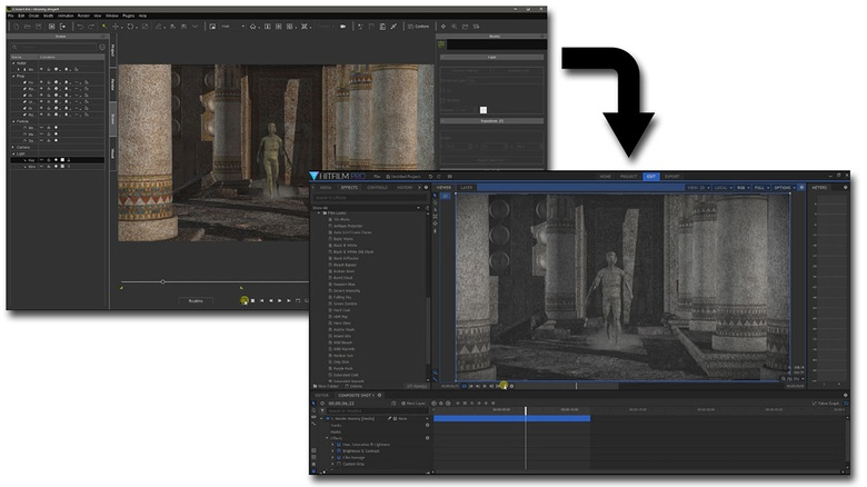 Using HitFilm, the sequences rendered in iClone can simulate different film styles. Changing or removing their colour, and adding scratches, grain, jittering and other grungy effects