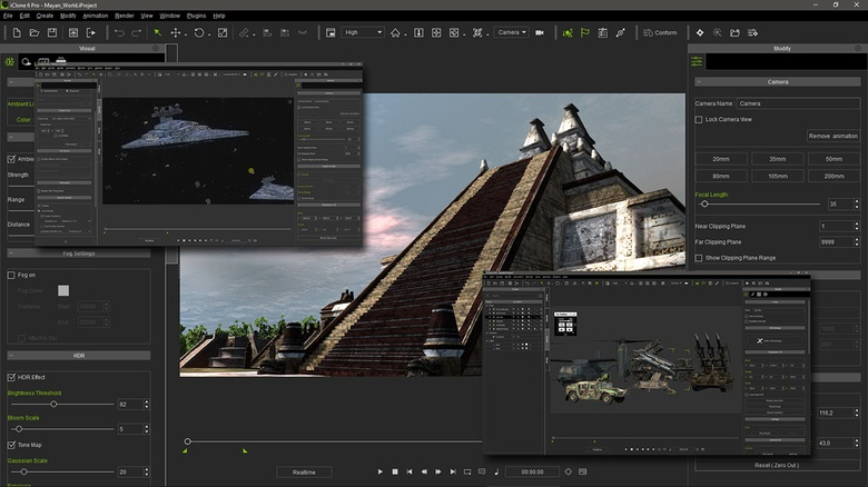 iClone can manage and animate any kind of complex scene, that once rendered, can be used as compositing layers on HitFilm