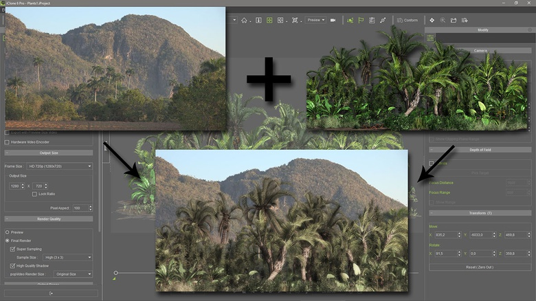 The moving plants and trees are rendered already masked, making the compositing with the real footage extremely easy