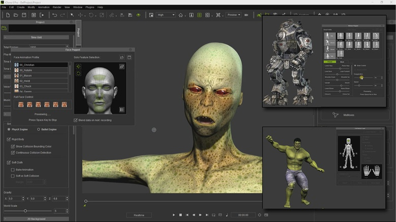 iClone has a wide variety of animation tools that allow you to apply facial expressions and concatenate movements to the characters in real-time, just using the mouse as controller