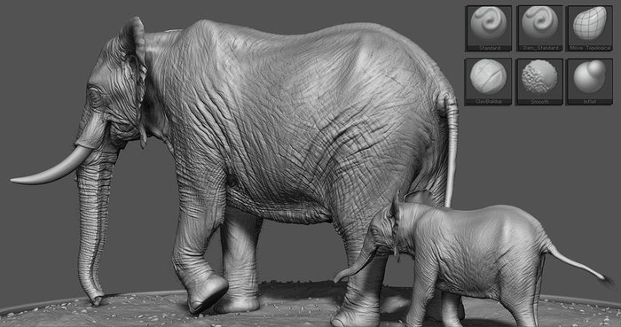 Some of the brushes used to create these sculpts