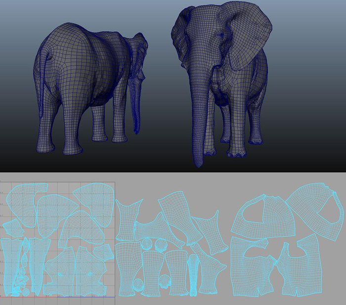 The retopologized model and its UVs