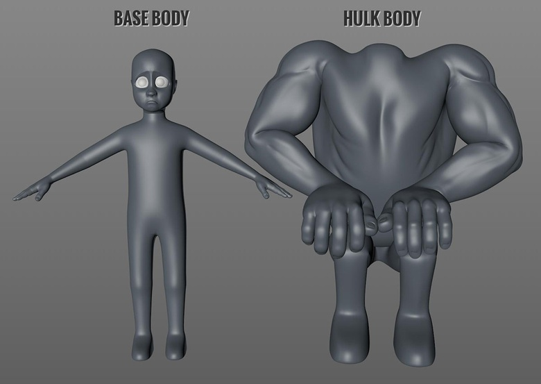 The simple base body mesh and the Hulk variation.