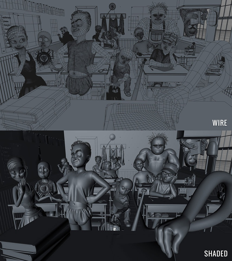 Wireframe and shaded views of the complete scene