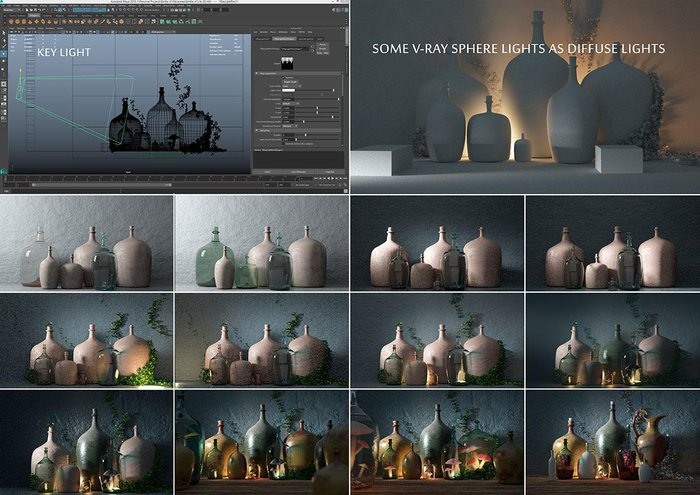 To recap on lighting: I used a V-Ray Rec light in directional mode as Key Light. Some V-Ray Sphere lights among the bottles. I also applied a dim Dome light for a blue tint over the dark shadows