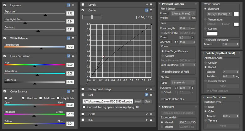 Frame buffer settings and physical camera settings