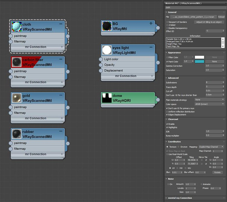 Node editor for all the objects in the scene and VRscans material node settings