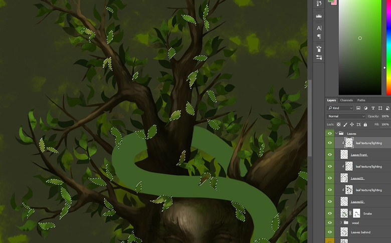 Use the Lasso tool to quickly cut out shapes and apply detail to them easily