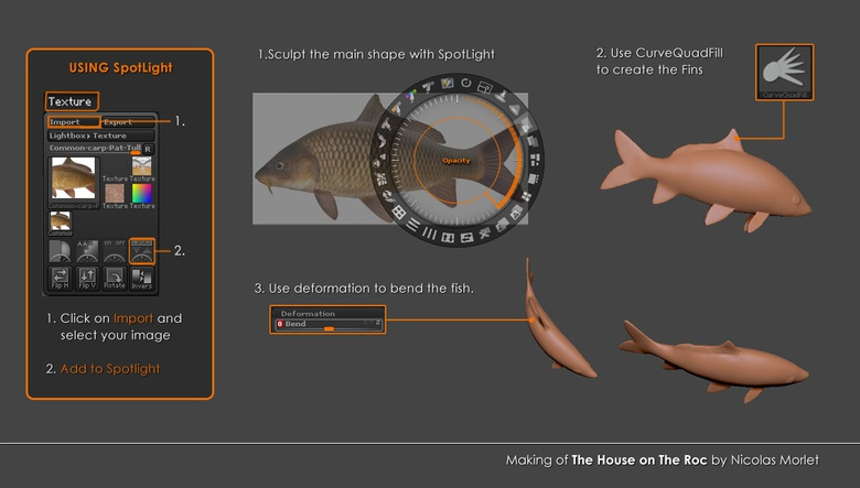 Sculpting process of the fishes