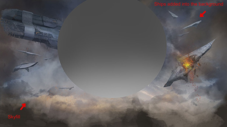 Here is an image of the background and ships