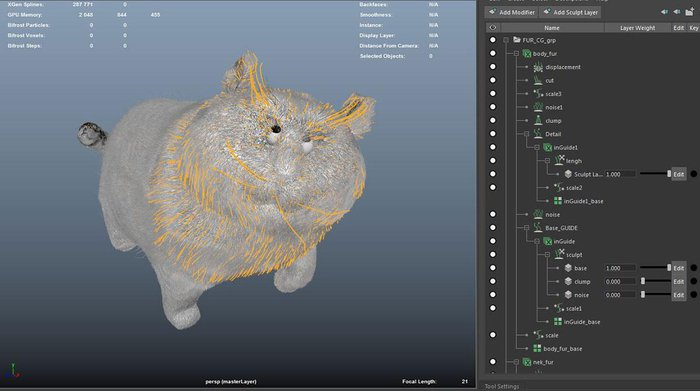 With groom layers it is really easy to create complex levels of fur on a character