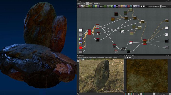 The image from Arnold Render with final lighting, and the material network from Substance Designer