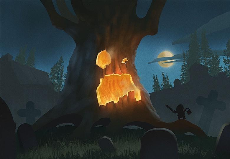 Fire and pumpkin flesh