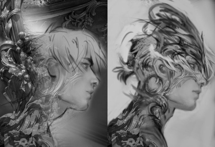 Rough grayscale sketches showing base concept where I also combined photo texture which helped me with his armor design
