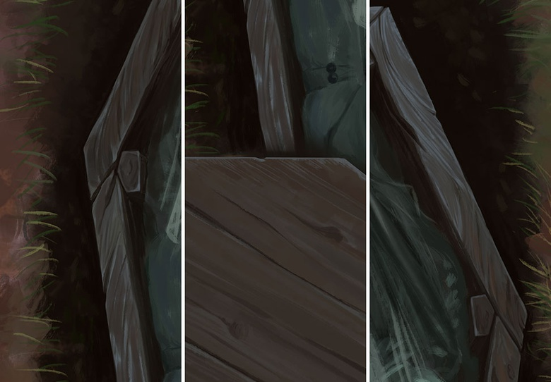 By integrating the colors used in our subject's skin into the wood, it makes it feel as though her and the coffin are one. You can do this whenever you want to create a relationship between different elements in a painting