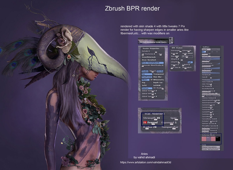 Create a girl in a headdress with ZBrush & Photoshop
