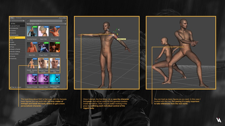 DAZ for quick character base and pose creation