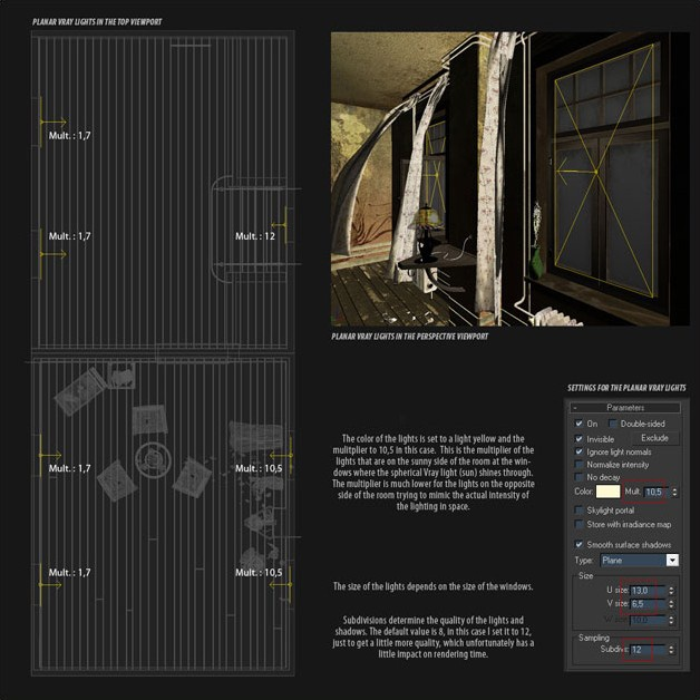 Picture 11: Lighting with planar Vray lights