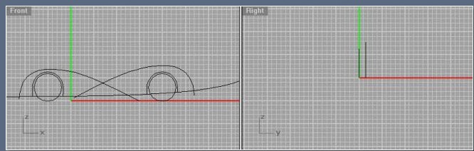 Move the 2 curves slightly backwards. Again in the sideview draw a curve for the basic lower shape of the body (youll split most of the surfaces with this curve). Cut off the wheelspace curves with the lower body curve.