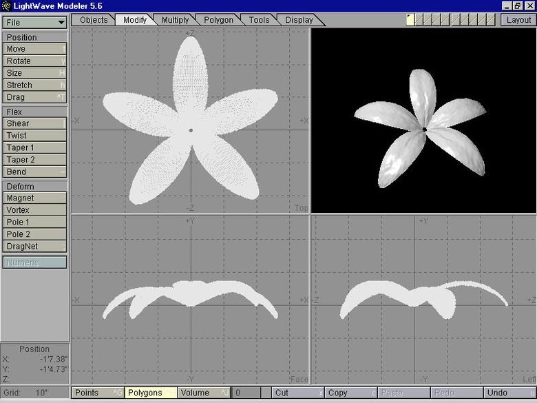 Figure 9: Petal cloned 5 times around origin. Click to Enlarge