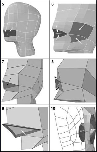 Fig. 6-4 Steps 5-10. 5). Preparing the mouth area (dark part). 6). The darker areas show where polygons are split and points moved. 7). Merging to upper and lower lips. 8). Beveling out the mouth. 9). Beveling in the mouth. 10). Beveling in to start the inside of the mouth.