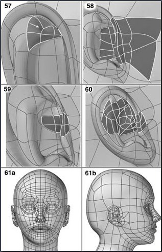Fig. 6-12 Steps 57-61. 57). Dividing and moving points for the upper part of the ear bowl. 58). Splitting polygons and moving points to make the ear flap. Smoothing the section between the ear and the head. 59). Dividing and moving points to refine the shape of the ear flap. 60). Splitting and pushing/pulling points to complete the ear. 61). Mirror duplicating the half head. If necessary, refining parts of the head with Symmetry on.