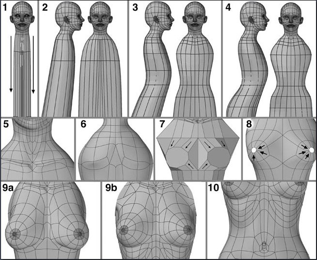 Fig. 6-16 Torso Steps 1-10. 1). Selecting or making a polygon at the bottom of the neck and beveling it down. 2). Starting the torso shape by making it broader. 3). Slicing across in several places and moving points in at the waist. 4). Dividing polygons some more for extra points that are moved to improve the torso. 5). Dividing polygons and pulling/pushing points to make the neck and collarbone. 6). Splitting polygons at the upper back to form the shoulder blades. 7). Merging polygons in the breast area and beveling outward. 8). Beveling the breasts again and forming the shape around the nipples. 9). Beveling several times to make the nipples. Dividing the breast polygons and moving points to improve its shape. 10). Splitting polygons and pushing/pulling points to form the lower ribs and navel.