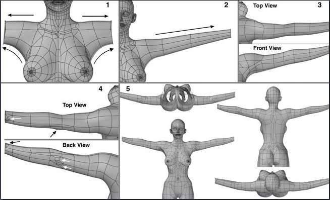 Fig. 6-22 Arm Steps 1 to 5. 1). Merging polygons between the shoulder and armpit and beveling it out. 2). Beveling the entire length of the arm. 3). Slicing across vertically to create more polygons. Moving points to give the arm a rough shape. 4). Adding details such as the surface characteristics of the elbow and wrist bones. 5). Mirror duplicating the finished arm.