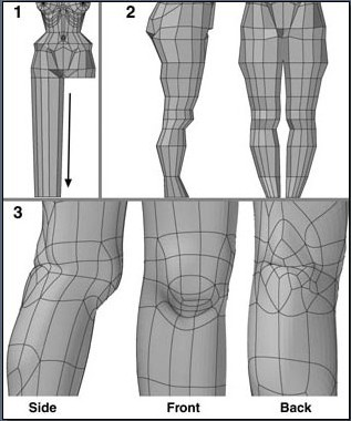 Fig. 6-27 Leg Steps 1 to 3. 1). Beveling down the leg poly- gon. 2). Slicing across the leg and shaping it. 3). Dividing the polygons and moving points at and behind the knee.