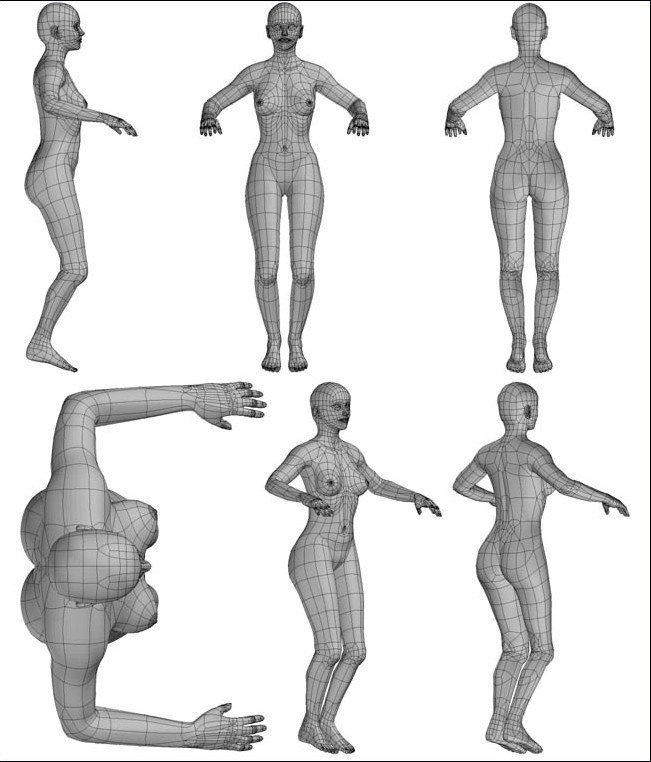Fig. 6-32 Step 11. Mirror duplicating the foot and bending the arms and legs for improved animation flexibility.