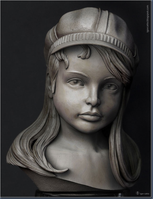 zbrush, photoshop, igor catto, girl, head, bust, sculpture