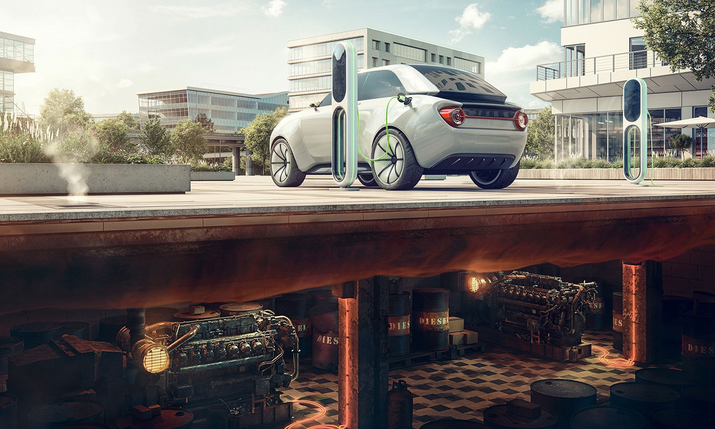 Green Energy car about fuel stations for electric cars