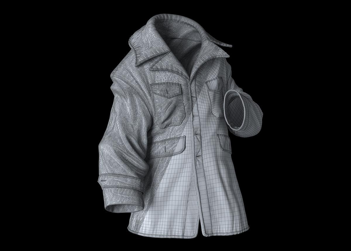 war jacket texturing shaping 3d model